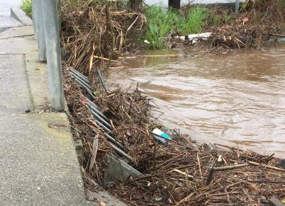 Trash rack on Llagas Creek near Main Street in Morgan Hill.