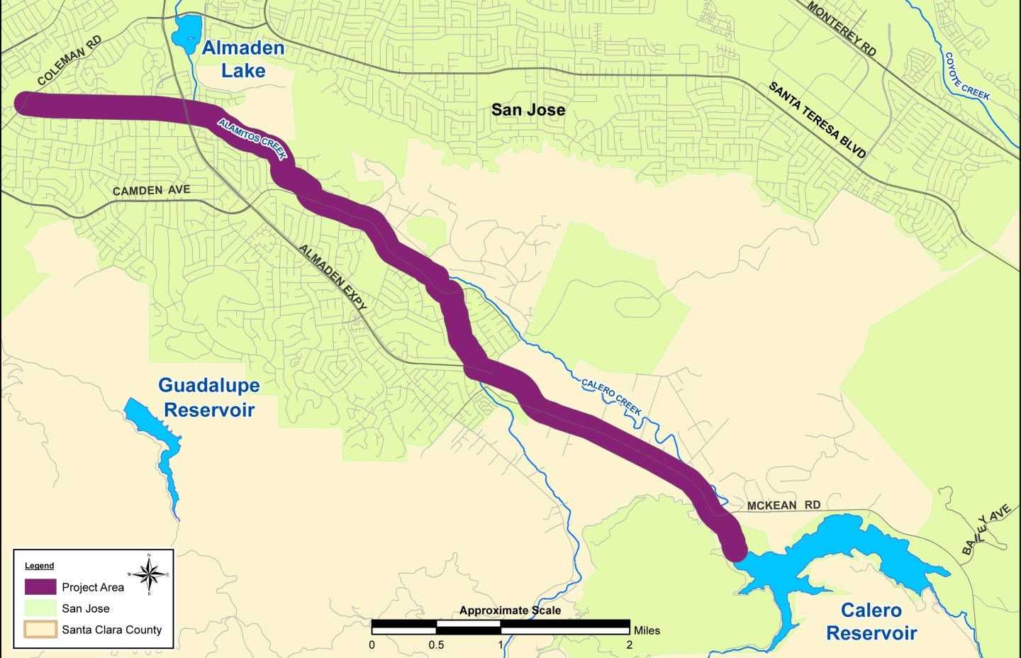 Map of Almaden Valley Pipeline from Calero Reservoir to Coleman Road