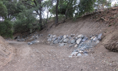 AFTER: repaired creek bank on Stevens Creek