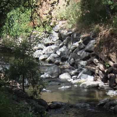 BEFORE: damaged cribwall on Saratoga Creek
