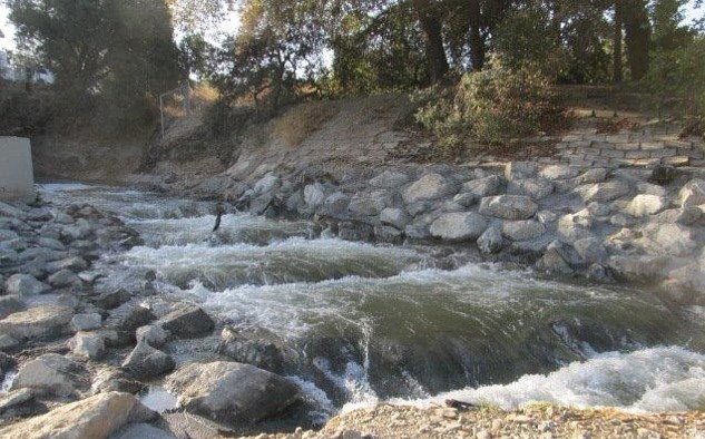 The stream banks were repaired and the fish ladder enhanced.