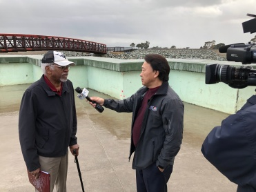 East Palo Alto Resident Dennis Parker with NBC Bay Area's Robert Handa