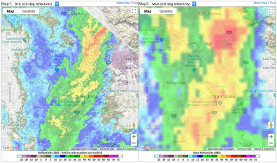 The X-band radar's higher-resolution image of rains on Feb. 14, 2019, is on the left, and the Doppler image is on the right.