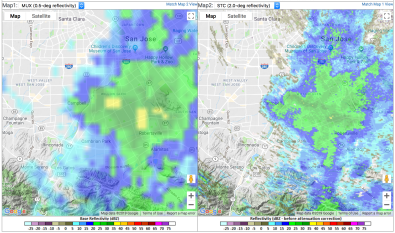 Here, the X-band radar image of rain on March 6 is on the right and the Doppler image is on the left.
