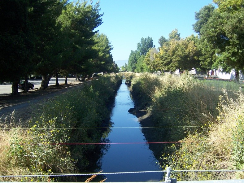 Sunnyvale East West Channels looking upstream from Java Drive.